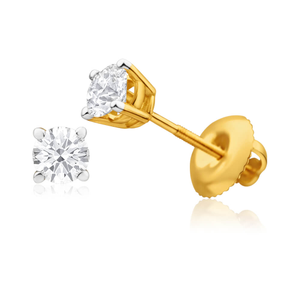 18ct Yellow Gold Diamond Stud Earrings