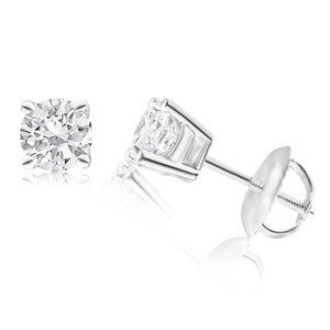 18ct White Gold Screwback Stud Earrings With 1 Carat Of Diamonds