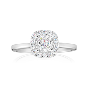 14ct White Gold Ring With 75 Points Of Diamonds