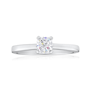 14ct White Gold Solitaire Ring With 75 Point Diamond