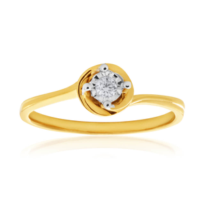 9ct Yellow Gold Solitaire Ring With 0.05 Carat Diamond