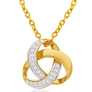 9ct Yellow Gold Classic Diamond Pendant