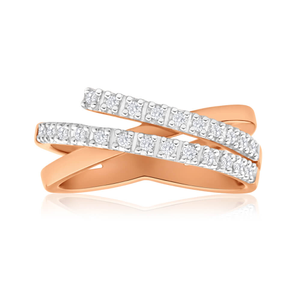 9ct Rose Gold 'Remy' Ring With 0.15 Carats Of Diamonds