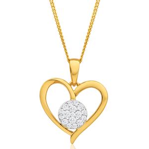 9ct Yellow Gold Diamond Heart Pendant on 45cm Chain