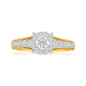 9ct Yellow Gold Ring With 0.7 Carats Of Diamonds