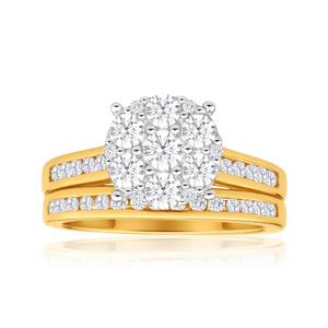9ct Yellow Gold 2 Ring Bridal Set With 1 Carat Of Brilliant Cut Diamonds