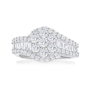 10ct White Gold 'Cadence' Ring With 1.5 Carats Of Diamonds