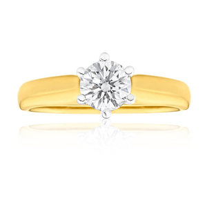 18ct Yellow Gold & White Gold Diamond Ring