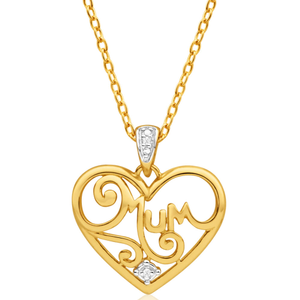 9ct Yellow Gold Diamond Stunning Heart Pendant