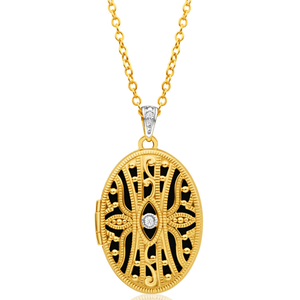 9ct Yellow Gold Diamond Locket Pendant