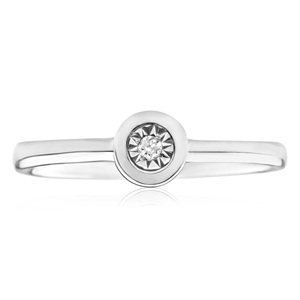 9ct White Gold Solitaire Ring With 0.01 Carat Diamond