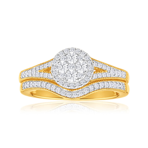 9ct Yellow Gold 2 Ring Bridal Set With 73 Diamonds Totalling 0.5 Carats
