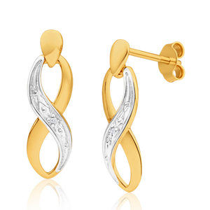9ct Alluring Yellow Gold Diamond Drop Earrings