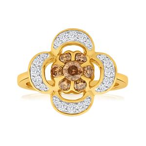 Australian Diamond 9ct Yellow Gold Diamond Flower Ring