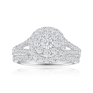 14ct White Gold 2 Ring Bridal Set With 1.5 Carats Of Diamonds