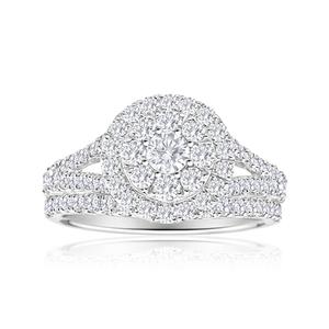 Diamond Bridal 2-Rings Set in 14ct Gold (TW=1.5CT)