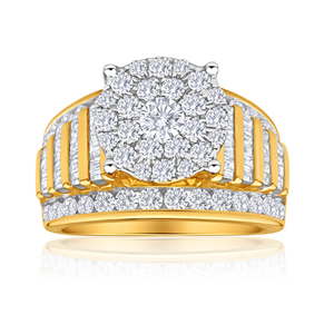9ct Yellow Gold 2 Carat Diamond Ring Set With 97 Brilliant Diamonds