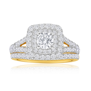 18ct Yellow Gold 2 Ring Bridal Set With 1.5 Carats Of Diamonds