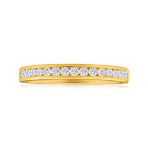 Diamond Wedding Ring in 18ct Yellow Gold (TW=25pt)