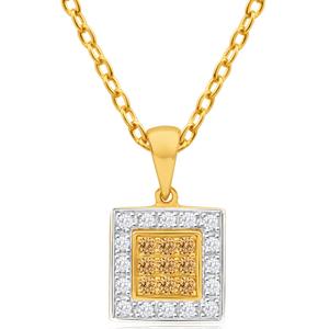 Australian Diamond 9ct Yellow Gold Diamond Square Pendant
