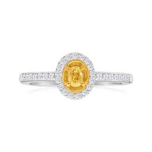 9ct White Gold Ring With Enhanced Yellow Centre Diamond