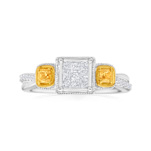Enhanced Yellow Diamond 9ct Yellow Gold Diamond Ring