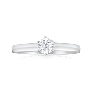18ct White Gold Solitaire Ring With 0.5 Carat Diamond