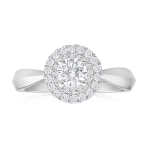 18ct White Gold Ring With 0.6 Carats Of Diamonds