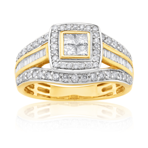 9ct Yellow Gold 1 Carat Diamond Ring Set With 86  Diamonds