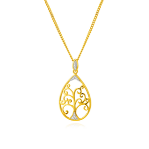 9ct Yellow Gold Diamond Pendant Set with 7 Brilliant Diamonds