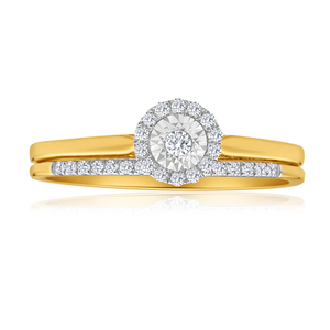 9ct Yellow Gold 2 Ring Bridal Set With 0.15 Carats Of Brilliant Cut Diamonds