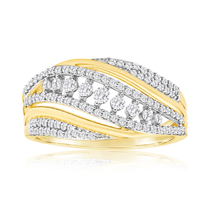 9ct Yellow Gold Diamond Ring Set With 36 Round Brilliant Diamonds