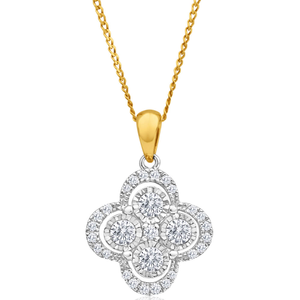 9ct Yellow Gold Diamond Pendant Set with 29 Brilliant Diamonds