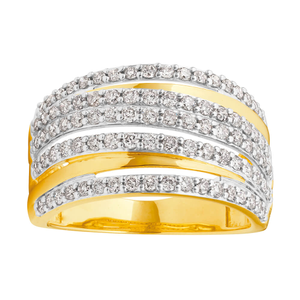 10ct Yellow Gold Ring With 63 Diamonds Totalling 1 Carat