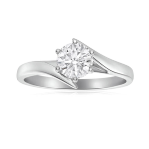 18ct White Gold Solitaire Ring With 1.04 Carat ADGL Certified Diamond