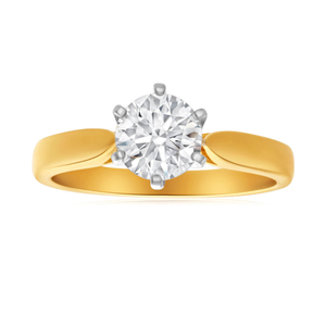 18ct Yellow Gold Solitaire Ring With 1.12 Carat ADGL Certified Diamond