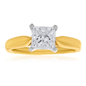 18ct Yellow Gold Solitaire Ring With 1.2 Carat ADGL Certified 4 Claw Set Diamond