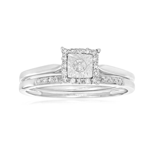 9ct White Gold 2 Ring Bridal Set With 0.15 Carats Of Diamonds