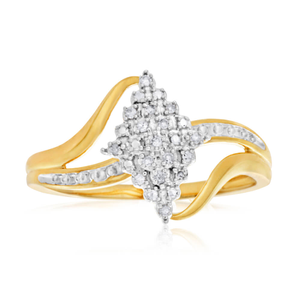 9ct Yellow Gold Diamond Ring Set with 15 Brilliant Cut Diamonds