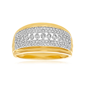 9ct Yellow Gold Diamond Ring Set with 103 Diamonds
