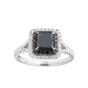 Black Diamond 9ct White Gold Diamond Ring