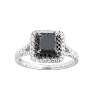 Black Diamond 9ct White Gold Diamond Ring