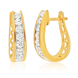9ct Dazzling Yellow Gold Diamond Hoop Earrings