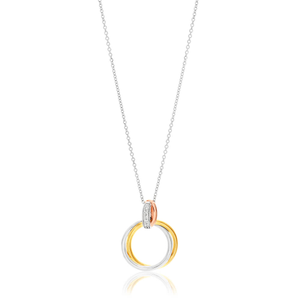 9ct Yellow Gold, White Gold & Rose Gold Diamond Pendant With Chain