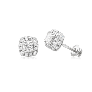 9ct White Gold Delightful Diamond Stud Earrings