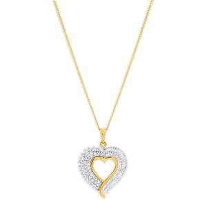 9ct Yellow Gold 1 Carat Heart Diamond Pendant With Chain