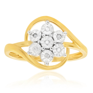 9ct Yellow Gold Stunning HJ Colour Diamond Ring