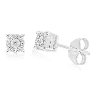 9ct White Gold Divine Diamond Stud Earrings