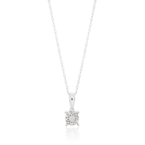 9ct Alluring White Gold Diamond Pendant With Chain