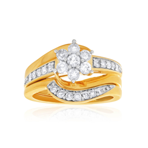9ct Yellow Gold 2 Ring Bridal Set With 0.75 Carats Of Diamonds